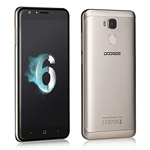 Dual SIM Smartphone, DOOGEE Y6 Unlocked SIM Free Mobile Phones, 4G 6.0 Android Smart Phone with - 5 Inch FHD Screen - 2GB RAM + 16GB ROM - 8MP + 13MP Camera Lens - 3200mAh Smartphones(Warranty) - Gold
