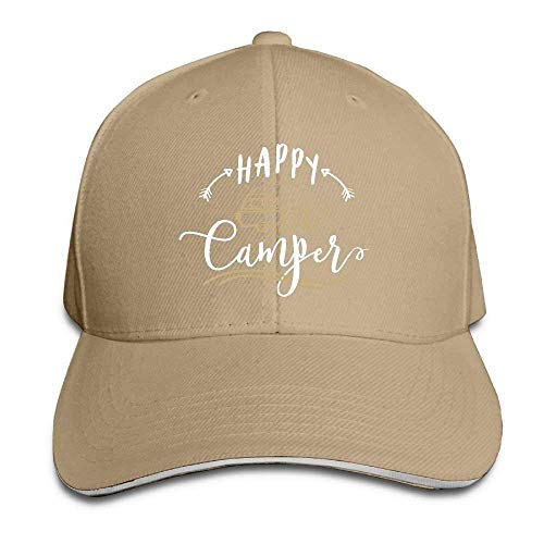 MACITA Premium Men Women Baseball Cap, Happy Camper Adult Adjustable Snapback Hats Dad Hat Womens Plain Front Chino