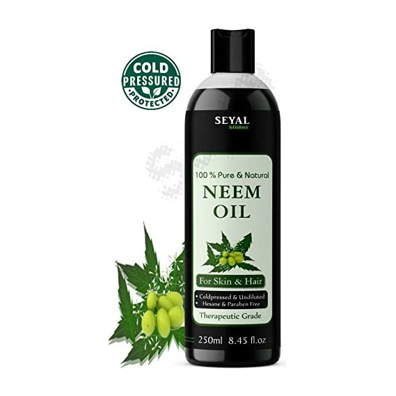 Seyal Pure & Natural, Cold Pressed Organic, Therapeutic Grade Hexane Less Neem Oil for Hair & Skin (250ml)