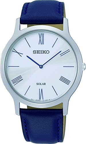 Seiko Herren Analog Solar Uhr mit Leder Armband SUP857P1 (Seiko Solar Herren-uhr)