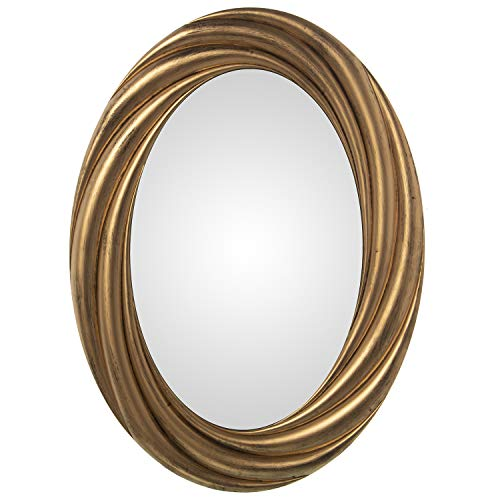 DRW Espejo Ovalado de Pared de Resina Dorado 56x3x76cm, Interior 36x56cm