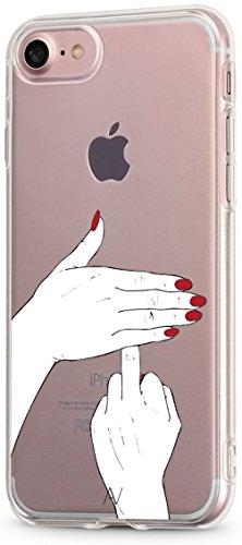AVANA Kompatibel mit iPhone 8 / iPhone 7 Hülle Schutzhülle Flexibles Case Schutz Durchsichtige Tasche Transparente Silikon TPU Schale Muster Handyhülle Clear Cover Motiv (Fuck You)