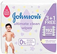 JOHNSON'S Baby, Wipes, Ultimate Clean, Pack of 192 w