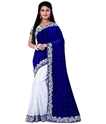Sarees Trendz Velvet & Net Saree (Bluevelvet1_Blue)