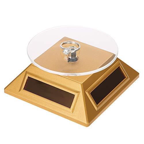 TMISHION Banco di Esposizione dell'orologio dei Gioielli del Telefono dell'orologio, Vassoio dell'organizzatore della Piattaforma Girevole di 360 Gradi della vetrina Solare (Oro)