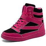 UBFEN Damen Sneaker Wedges Keilabsatz Schuhe High Top Stiefeletten Sportschuhe Klettverschluss Freizeitschuhe Turnschuhe Stiefel 38 EU Schwarz Rot