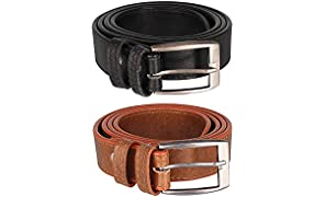 Froggy Men's Combo Of 2 Belt(Tan, Free Size)