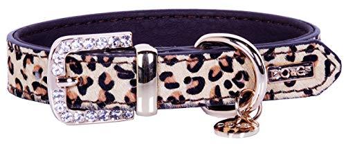 DO & G Hundehalsband, Leder, mit Strasssteinen und Passender Leine, Leoparden- oder Zebramuster (Hundehalsband Leopard)
