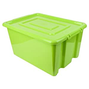New Whitefurze Plastic Stackable Container Medium Storage Box With Lid 32l Green