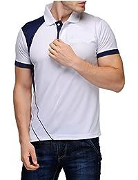 Scott International Men's Jersey Collar Neck Sports Dryfit Polyster T-Shirt - White