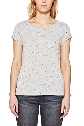 edc by ESPRIT Damen T-Shirt 998CC1K805, Grau (Light Grey 040), X-Large