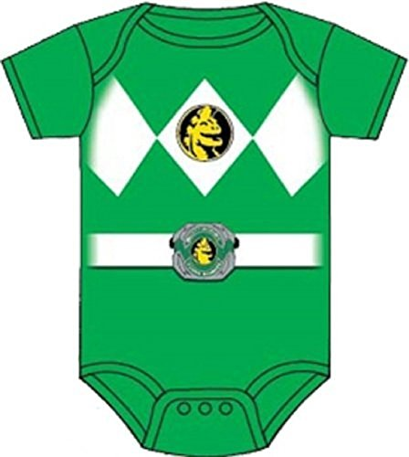 Grüne Rangers Power Kostüm Ranger - Power Rangers Baby Ranger Kostüm Strampler Onesie (6-12 Monate, grün)