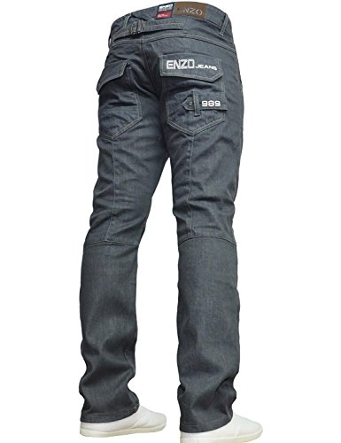 Enzo BNWT New Mens Jeans Blue Designer Branded Straight Washed All Waist & Sizes Grey Wash 36W X 32L