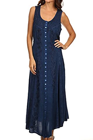 Sakkas 15221 - Maya Floral Embroidered Sleeveless Button Up Rayon Dress - Blue - L/XL