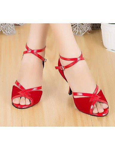 ShangYi Chaussures de danse ( Noir / Rouge ) - Non Personnalisables - Talon Bas - Cuir - Latine Red