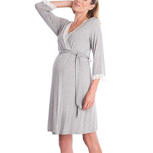 Nursing Nachthemd zum Stillen Nightie Shirt Kleid Highdas Damen Umstandskleid Light Grey 2 2XL (Nursing Nachthemd Kleid)