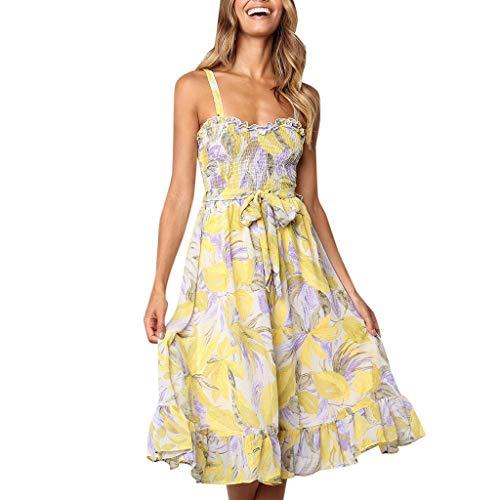 Chiffon-Kleid,Sling Kleid,VRTYOC Damen sexy Sling Blumen Printing Sommer Damen Tube Top Smoking Kleid Ärmellos Kleider Strandkleid Abendkleid Cocktailkleid Party Kleid