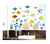 DecoBay Fish Bathroom Stickers/Childrens Room Wall Stickers - Adhesive Removable Wall Stickers Bathroom Wall Stickers