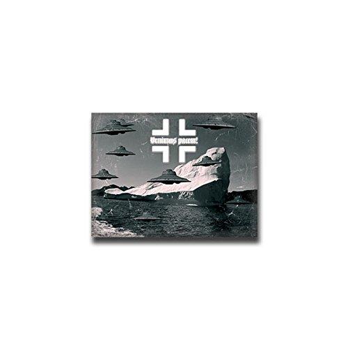 Aufkleber / Sticker - Haunebu Antarktis Neuschwabenland Flugscheibe Flug Raumfahrzeug Deutschland Kugelblitz Flugkreisel 9x7cm #A1425