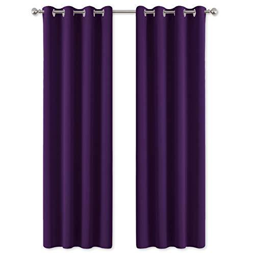 PONY DANCE Blickdichte Gardinen mit Ösen - (1 Paar H 245 x B 140 cm) Vorhänge Blickdicht Kinderzimmer Gardinen Verdunkelung Thermo Vorhang Wärmeisolierend, Violett