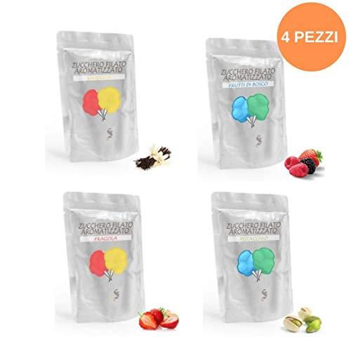 Semar Zucchero Filato Aromatizzato - 4 Gusti Diversi - Colori accesi e sapori Forti : Confezioni da 0,500 Grammi [ 2 kg Tot ]