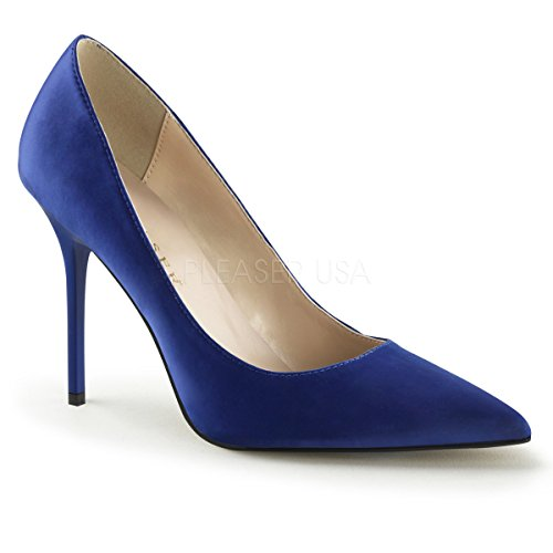 Classic Pleaser-20, Donna Royal Blue Satin Pumps