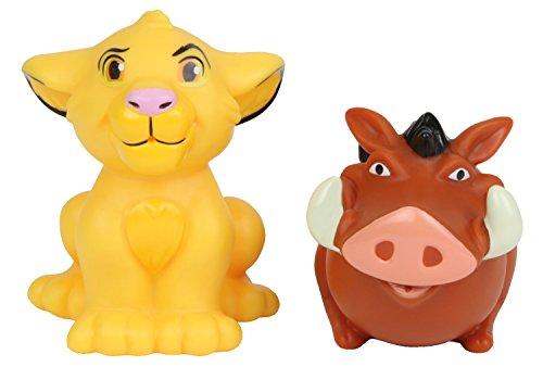 Lena 65514 - Wasserspritztiere Disney's König der Löwen 2er Set, mit Spritzfiguren Simba und Pumba, Badespielzeug Set mit 2 Wasserspritzer für Kinder ab 1 Jahr, Wasserspielzeug Set mit Spritztieren
