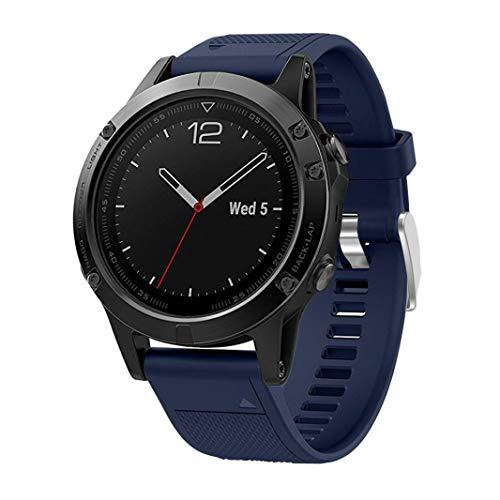 MuSheng Watch Band, Leichtes Weiblicher Kleiner Freizeit Leicht Bequemer Weicher Ersatz Silikagel Quick Install Sport Band für Garmin Fenix 5 GPS Uhr (Dunkelblau)