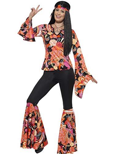 Kostüm Abba Frauen - Luxuspiraten - Damen Frauen Willow Hippie Woodstock Kostüm mit Flower Power Oberteil, Schlaghose, Kopftuch und Anhänger, perfekt für Karneval, Fasching und Fastnacht, 2XL, Orange