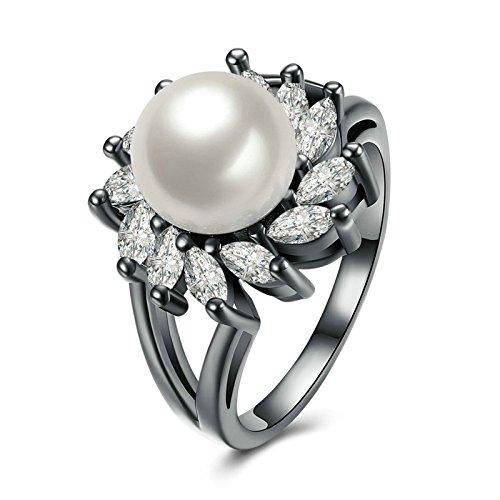 Epinki Vergoldet Damen Ringe Blumen Perle Schwarz Perlenring Vertrauensring Verlobungsringe Gr.57 (18.1)