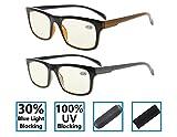 Gr8Sight 2-Pack Riduce l'affaticamento della vista Anti-abbagliamento al 30% di luce blu, 100% di protezione UV Specifiche Occhiali da lettura per computer Uomini / Donne Gialla Lente +1.75