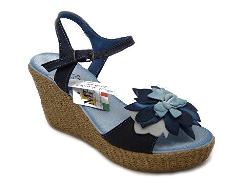 Sandalo Mercante di fiori in pelle, con fondo platform leggero altezza 9cm. dietro e 2cm. davanti, suola in gomma antiscivolo, estivo-44289
