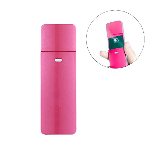 Frcolor Face Steam, USB Rechargeable Nano Spray Cold Water Nebulizer Large Tank Spraying Portable Manual Sprayer Water Mister Ionic Cool Humidifier (Pink)