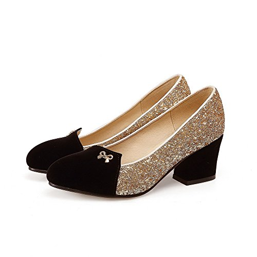 Damen Ziehen auf Rund Zehe Mittler Absatz PU Gemischte Farbe Pumps Schuhe, Blau, 38 AllhqFashion