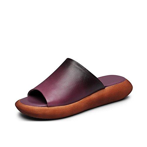 Heart&M Frauen-Handarbeit-echtes Leder-Zehe-Ring-Muffin Heel Platfrom Hausschuhe Sandalen Purple
