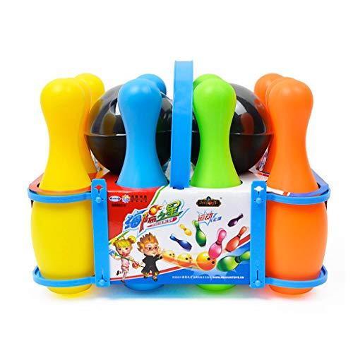 Luccase Bowling Spielzeug Set 12 Teiliges Kunststoff Bowling Spielzeug Buntes Bowling Set für Kinder, 27.3*20*17CM, 10 17cm Kegel, 2 Bowlingkugeln