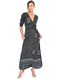Polka Mandala Print Maxi Wrap Dress