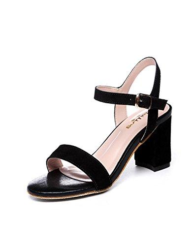 BaiLing Damen Sommer Sandalen / Chunky Heel Gürtelschnalle / Scrub kleine Größe weibliche Schuhe Black