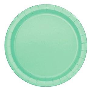 Unique Party -  Platos de Papel - 17.1 cm - Verde Menta - Paquete de 20 (99224)