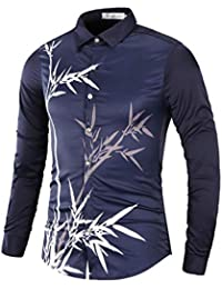 BUSIM Men's Long Sleeve Shirt Autumn Bamboo Print Casual Slim Solid Color Lapel Button Button Personality T-Shirt...