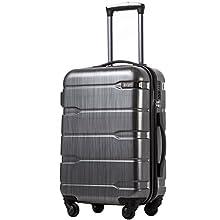 COOLIFE Koffer Reisekoffer Vergrößerbares Gepäck (Nur Großer Koffer Erweiterbar) PC + ABS Material mit TSA-Schloss und 4 Rollen(Silbergrau, Mittelgroßer Koffer)
