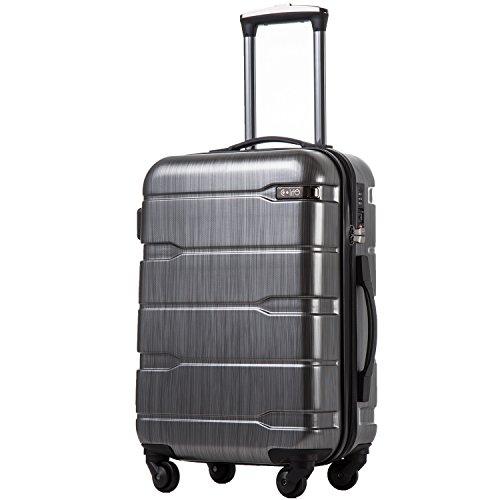 COOLIFE COOLIFE Koffer Reisekoffer Vergrößerbares Gepäck (Nur Großer Koffer Erweiterbar) PC + ABS Material mit TSA-Schloss und 4 Rollen(Silbergrau, Mittelgroßer Koffer)
