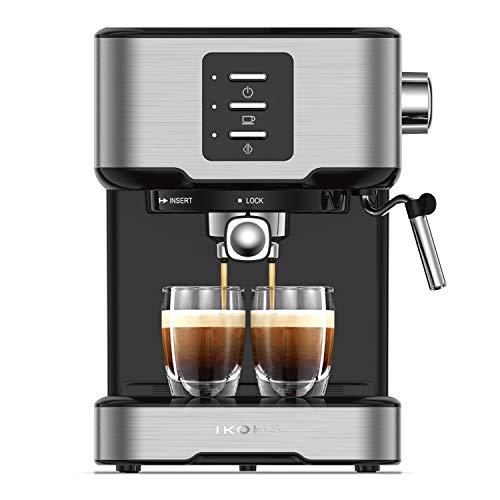 ikohs cafetera express barismatic - cafetera automática espress para espresso y cappuccino, 20 bares, 850 w, 1,5 litros, vaporizador orientable, doble salida, regulador de presión (gris)