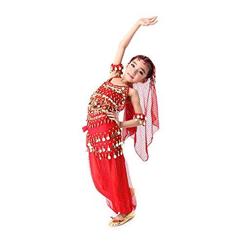 SymbolLife Mädchen Bauchtanz Kostüm Set Tanzkleid Kinder Tanzkleidung Karneval Kindertag Kostüme indianisch Tanzkostüme, Das Obere + Pluderhosen + Kopftuch + Armbänder + Bauchkette, L Rot (Bauchtänzerin Schuhe)
