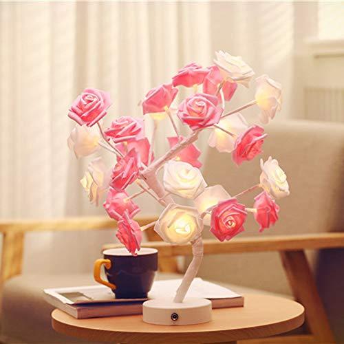 LED Light String Handgefertigte Baumwollkugel Baum Lampe Rose Bedroom Geschenk Nachttisch Lampe Dekorations Lampe,Pink
