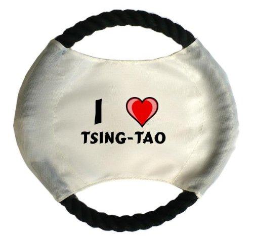 personalisierter-hundefrisbee-mit-aufschrift-ich-liebe-tsing-tao-vorname-zuname-spitzname