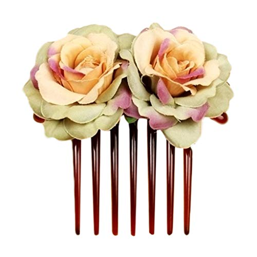 LINSINCH Haarschmuck für Damen, Haarkamm, Brautschmuck, Blume, Hochzeit, Rose (Blonde Kuchen-topper)