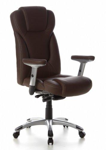 hjh OFFICE 668710 chaise de bureau, fauteuil de bureau EMBASSY 200 brun foncé, siège de direction avec accoudoirs, appuie-tête intégré au dossier inclinable, confortable grâce à son rembourrage épais et souple