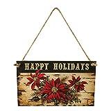 Vimbhzlvigour Happy Holiday Vintage Weihnachtsstern Gedruckt, Schild aus Holz Zum Aufhängen Xmas Party Home Decor, Wand Door Hanging Multi