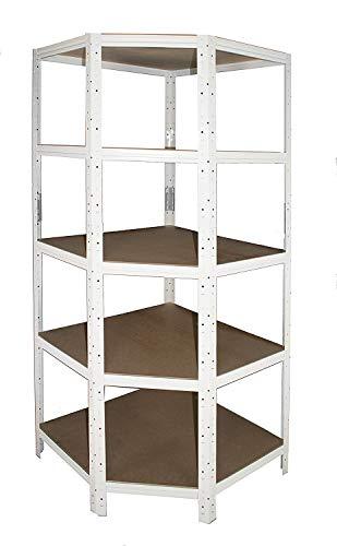 Eckregal-Metall-Schwerlast HOME 200x60x30 cm weiß mit 5 Böden - Steckregal für unsere 30 Tiefen -...